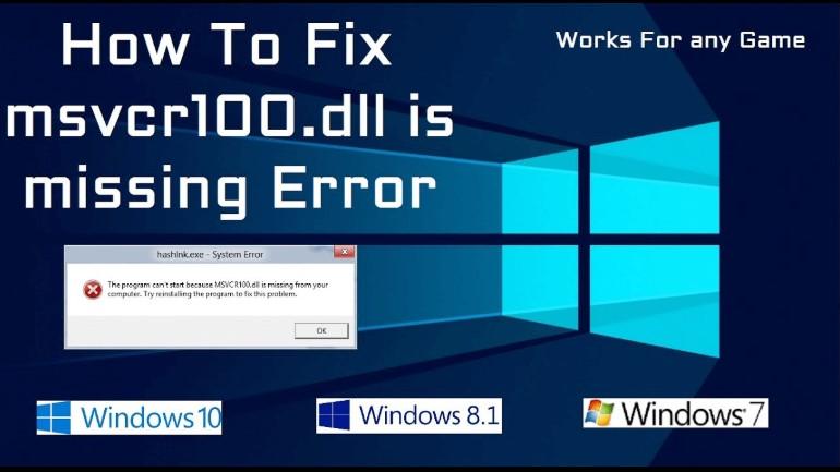 msvcr100.dll missing error